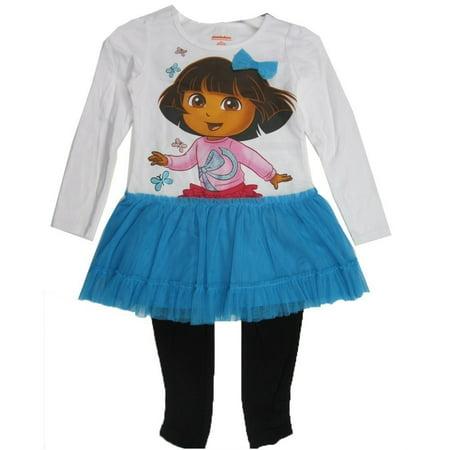 Little Girls Blue Black Dora the Explorer Skirted 2 Pc Leggings Set 4-6X Dora The Explorer Outfits