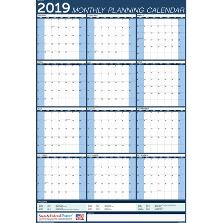 2019 Wall Calendar (Blue), Yearly Planner, Laminated & Erasable. Vertical  (MPC) BLUE-27x40