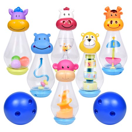 Bowling Set for Kids With 6 Plastic Animal Bowling Pin and 2 Bowling Ball For Kids Bowling Game Indoor F-249 - Bowling Pin Wood