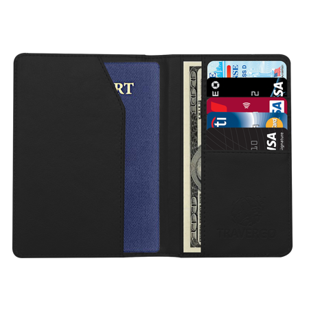 - TraverGo PU Leather Passport Holder, Black TR1240BK