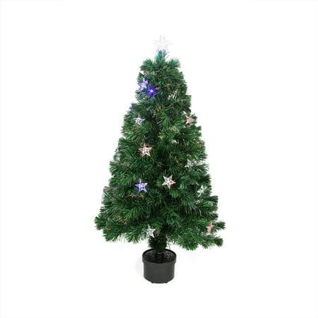 3' Pre-Lit Color Changing Fiber Optic Christmas Tree with Stars ...