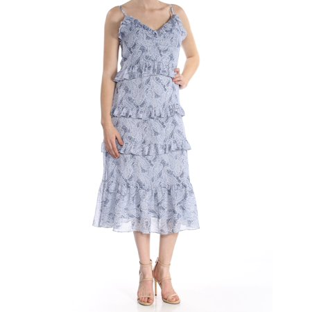 MICHAEL KORS Womens Light Blue Tiered Printed Spaghetti Strap V Neck Midi Dress  Size: M (M Kors Sonnenbrille)