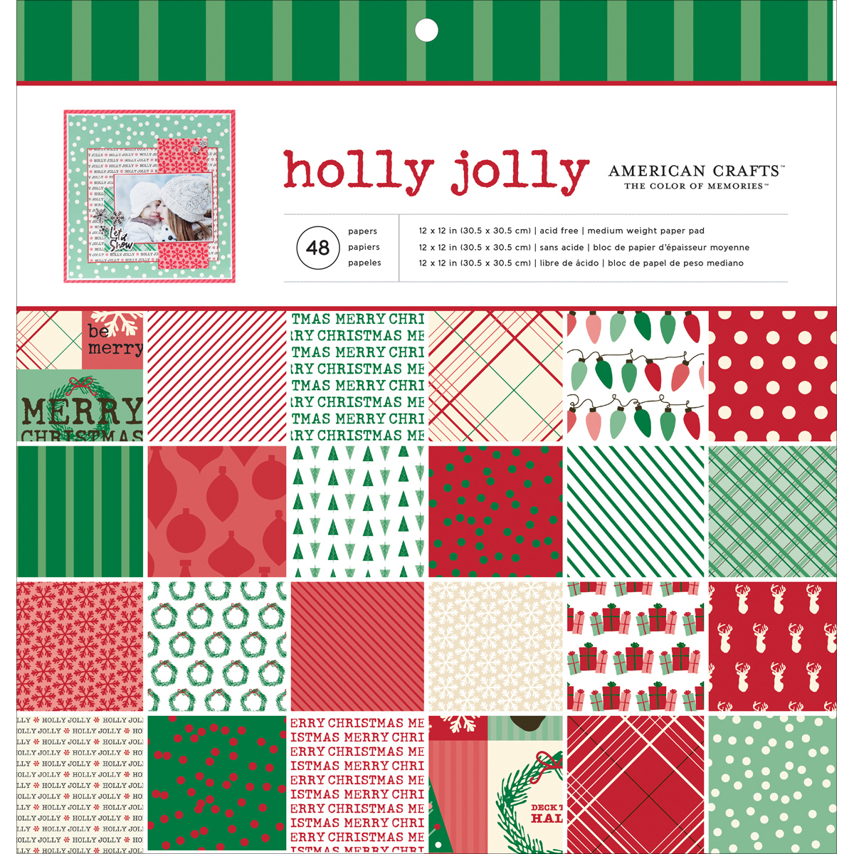 "American Crafts Paper Pad 12""X12"" 48/Pkg-Holly Jolly"