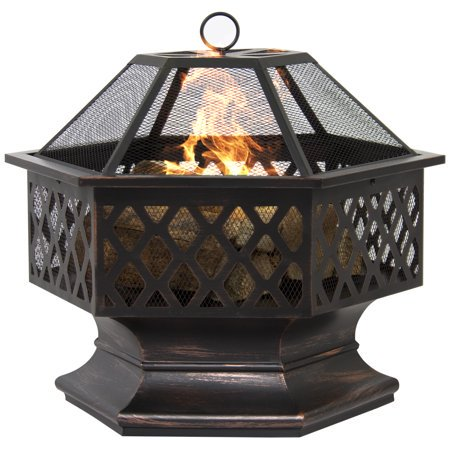 Zeny Outdoor Hex Shaped Patio Fire Pit Home Garden Backyard Firepit Bowl Fireplace