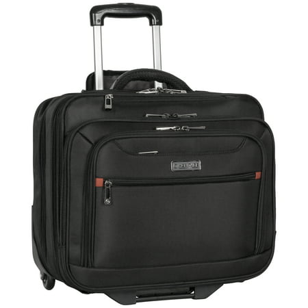 "Heritage Triple Compartment Top Zip 2-Wheeled 15.6"" & 17.0"" Computer Portfolio / (Top Zip Computer Portfolio)"