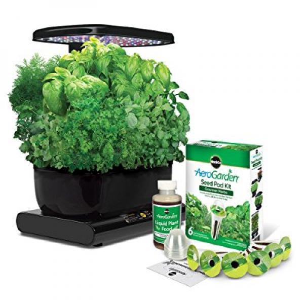 AeroGarden Harvest Black with Gourmet Herbs
