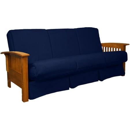 Morris Mission Style Perfect Sit Sleep Pocketed Coil Innerspring Sofa Sleeper Bed Queen Medium Oak Suede Dark Blue