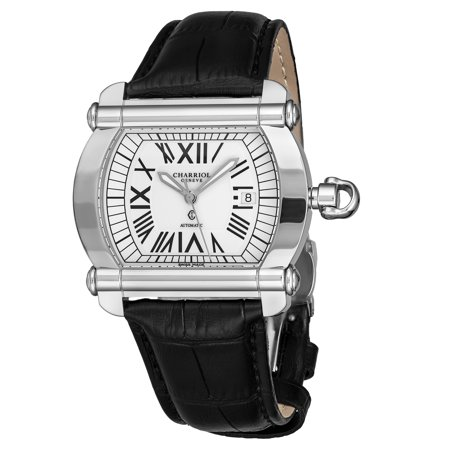 Charriol  Men's CCHATXL.361.HATX1 'Actor' White Dial Black Leather Strap Automatic Swiss Made Watch