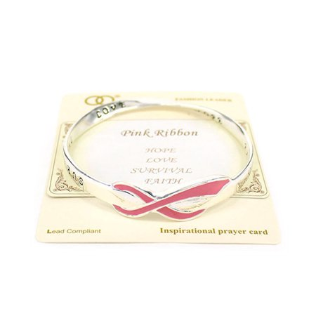 Beautiful Breast Cancer Pink Ribbon Themed Silver Tone Bangle Bracelet
