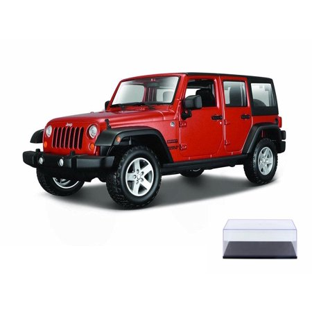 Diecast Car & Display Case Package - 2015 Jeep Wrangler Unlimited, Orange - Maisto 31268OR - 1/24 Scale Diecast Model Toy Car w/Display -