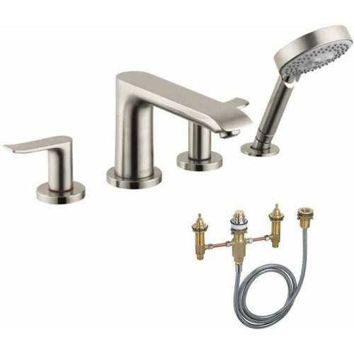 Hansgrohe KT31444-06646CR Metris E 2-Handle Roman Tub Faucet with Handshower and Rough-In, Various Colors