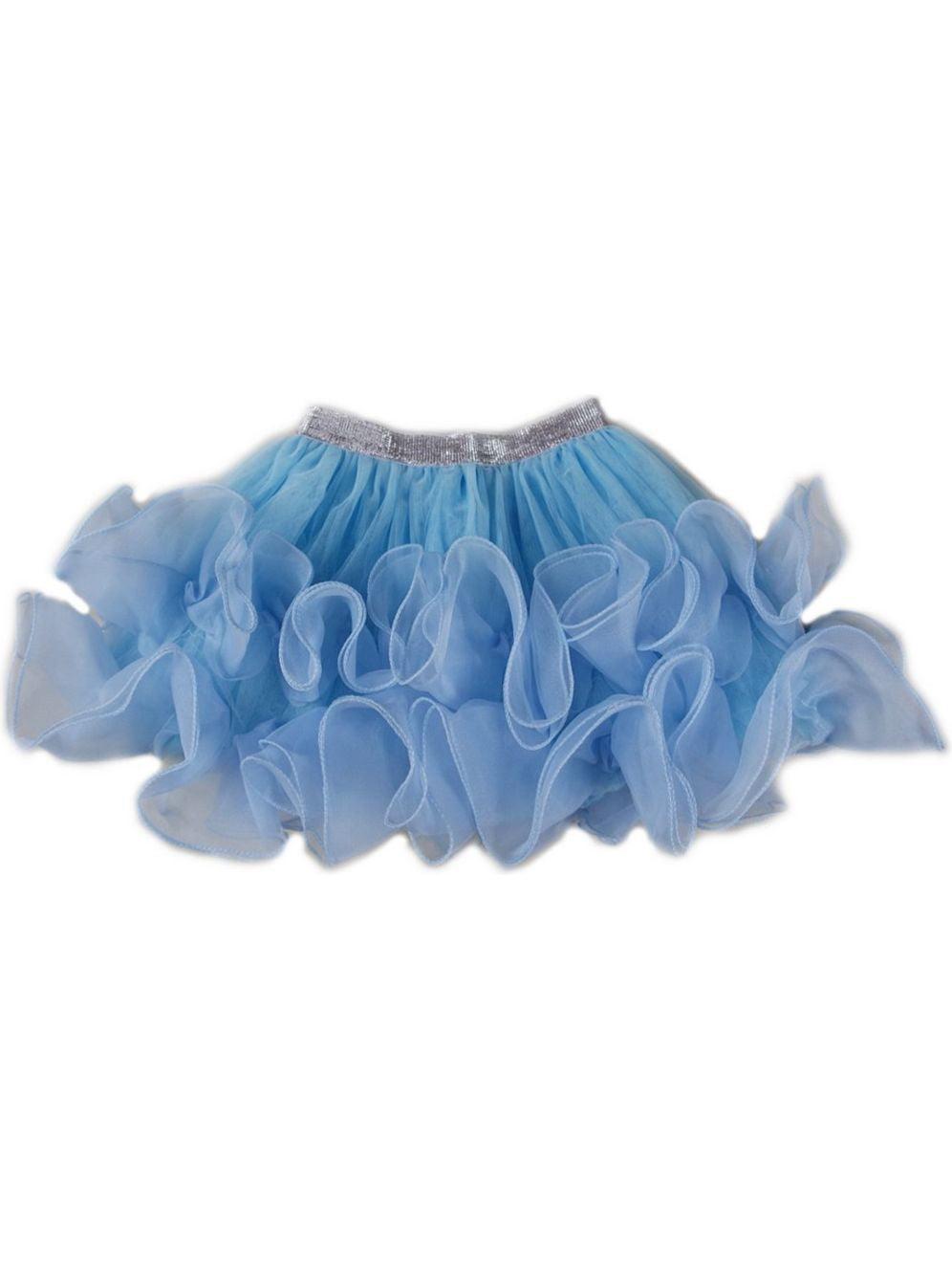Wenchoice Girls Blue Wave Trimmed Flouncy Tutu Skirt