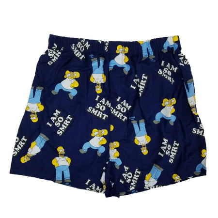 The Simpsons Mens Navy Blue Homer Simpson I Am So Smrt Flannel Boxer Shorts