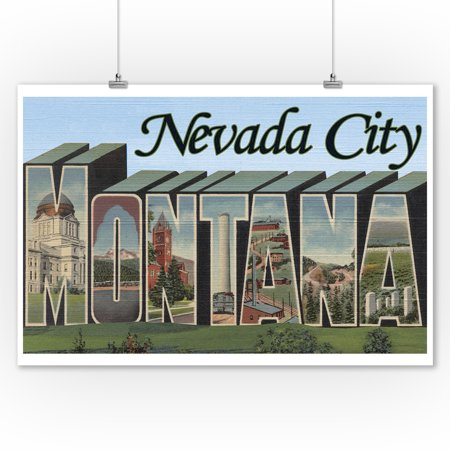 Nevada City, Montana - Large Letter Scenes (9x12 Art Print, Wall Decor Travel Poster) (Halloween Party Nevada City)