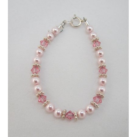Swarovski Pink Pearls and Crystals with Sterling Silver Daisy Spacers Bracelet Daisy Pearl Bracelets