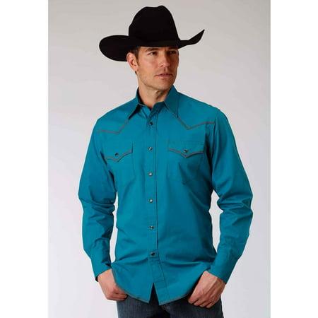 01f427b6b Roper 0060 Men's Long Sleeve Western Style Shirt Solid Poplin - Jewel Blue