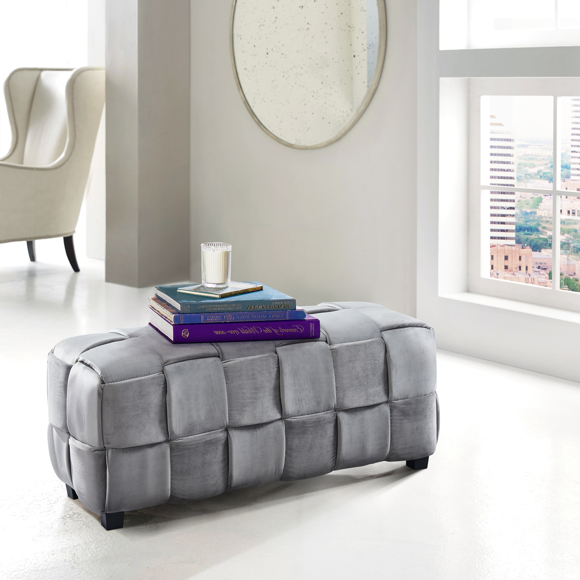 Armen Living Raven Contemporary Long Ottoman in Gray Velvet