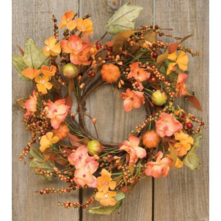 Harvest Garden Ring Mini Wreath Fall Flowers Mini Pumpkins Leaves Berries Country Primitive Floral Dcor
