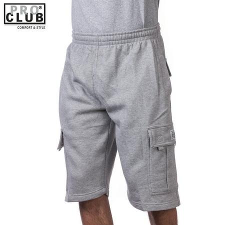 Pro Club Men's Fleece Cargo Shorts Pants Heather Gray 5X-Large