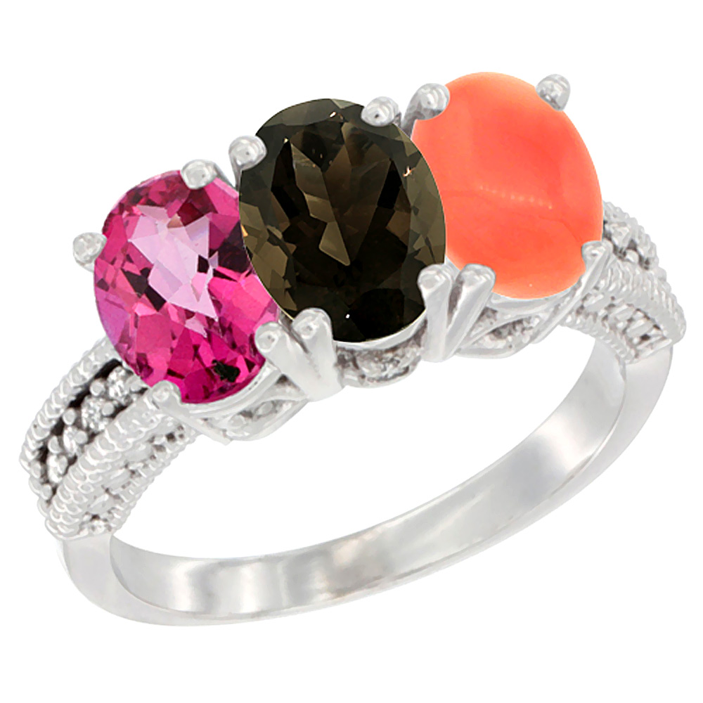 14K White Gold Natural Pink Topaz, Smoky Topaz & Coral Ring 3-Stone 7x5 mm Oval Diamond Accent, sizes 5 10 by WorldJewels