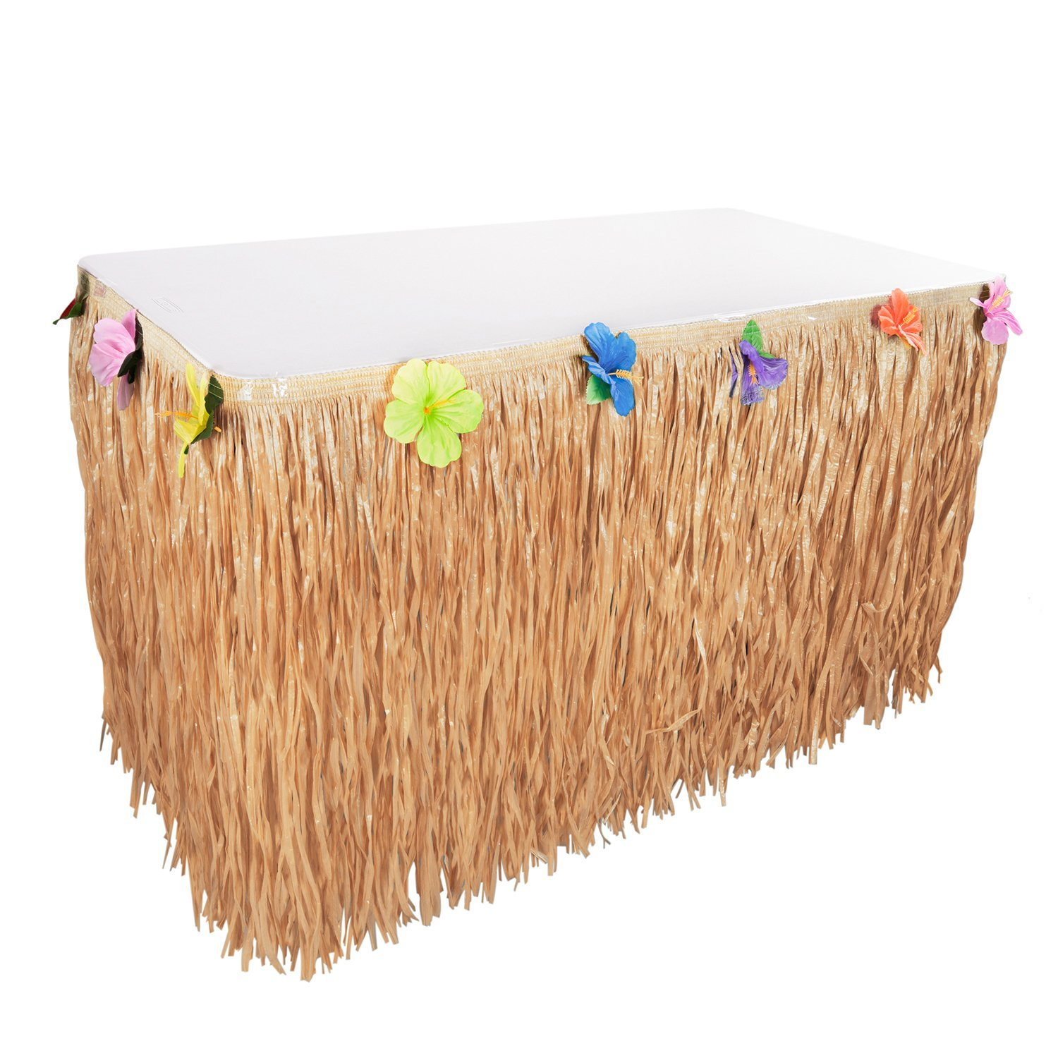 9FT Luau Hawaiian Grass Table Skirt Decorations - Hula Hibiscus Tropical Birthday Summer Pool Party Supplies