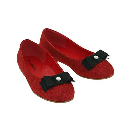 306eafdadd7 IM Link - L Amour Red Black Bow Rhinestone Flat Shoes Toddler Little ...