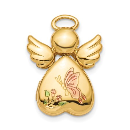 925 Sterling Silver Gold Plated 12mm Enameled Angel Photo Pendant Charm Locket Chain Necklace That Holds Pictures Shaped Gifts For Women For Her (Angel Locket)