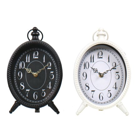Table Mantle Clock (Black and White Oval Metal Battery Table Desk Mantle Clocks Set of)