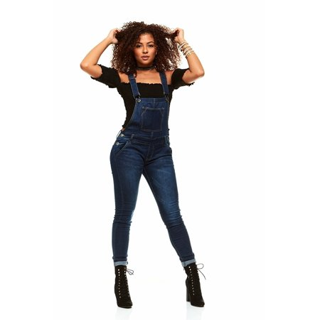 V.I.P.JEANS Casual Blue Jean Bib Strap Pocket Overalls For Women Ankle Length Slim Fit Junior Sizes Wash Choices