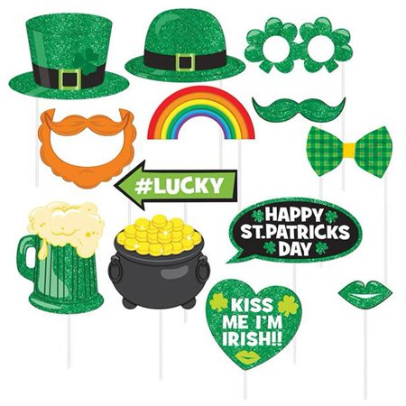St. Patrick's Day Photo Booth 13 piece Prop Kit Luck of Irish Accessories Amscan 399465 (Photo Booth Accessories)