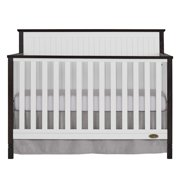 Dream On Me Alexa II 5 in 1 Convertible Crib - White with Wire Brushed Dark Brown