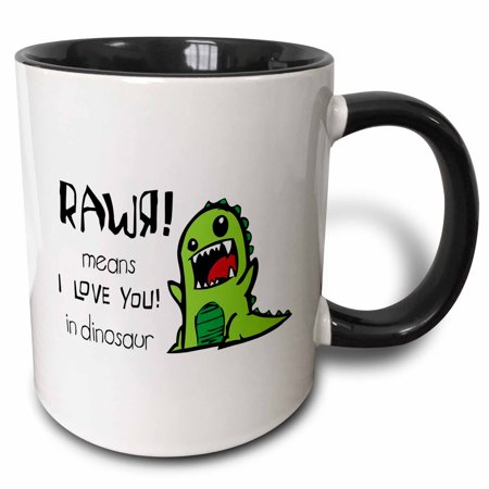 3dRose Rawr means I love you in dinosaur, Two Tone Black Mug, 11oz - Dinosaur Mug
