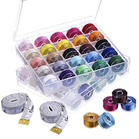 eBoot 50 Pieces Prewound Thread Bobbins Sewing bobbins Size A with Case and 2 Pack Soft Tape Measures for Brother/ Babylock/ Janome/ Elna/ Singer Elna Bobbin Case