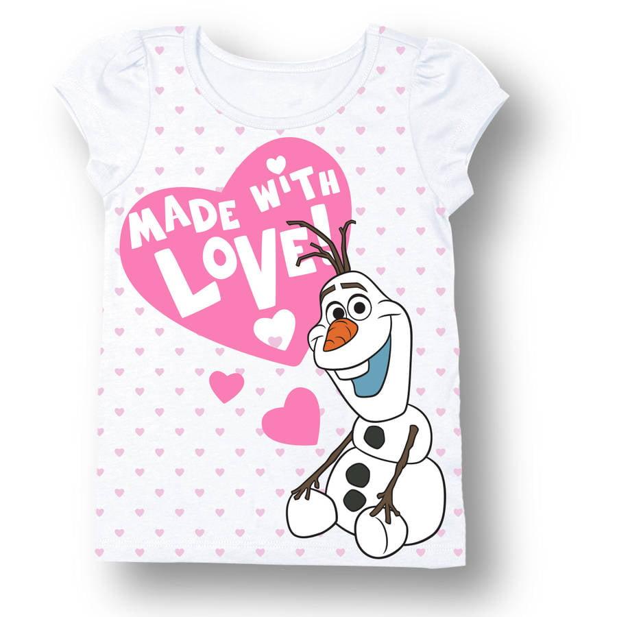 Disney Forzen Toddler Girl Olaf Made With Love Short Sleeve T-Shirt