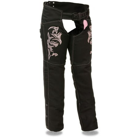 Milwaukee Leather Womens Textile Chaps w/ Tribal Embroidery & Reflective Detail (Ladies Leather Chaps)
