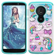 Moto G6 Play Gillter Case, Allytech 2 in 1 Rugged Hybrid Hard PC Soft TPU Impact Back Defender Cover Case with Bling Diamond for Motorola Moto G6 Play (2018), Rainbow Pony