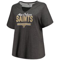Product Image Women s Majestic Heathered Charcoal New Orleans Saints Notch  Neck Plus Size T-Shirt 070d45ae7