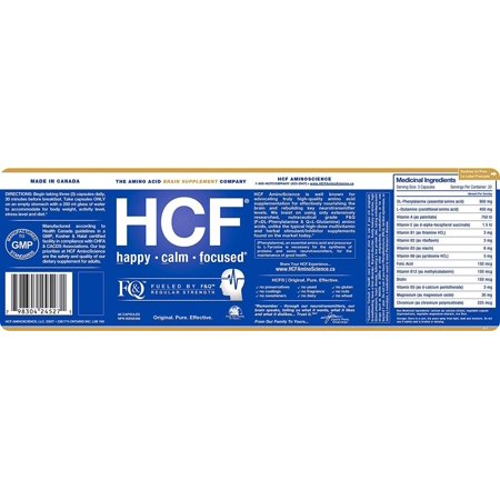 HCF Happy Calm Focused Brain Supplement - Amino Acids, Vitamins and Minerals for Memory, Attention, Focus, Mood, Concentration, Sleep, Energy - image 4 of 6
