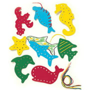 Lacing and Tracing Sea Life 8/Pk Ages 3-7 Multi-Colored