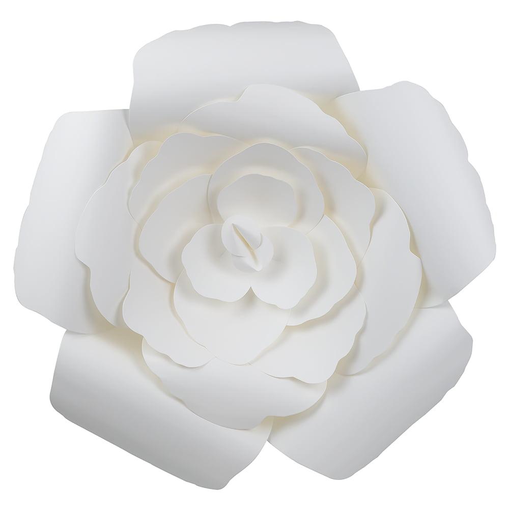 Quasimoon Giant 16 Pre Made White Rose Paper Flower Wedding