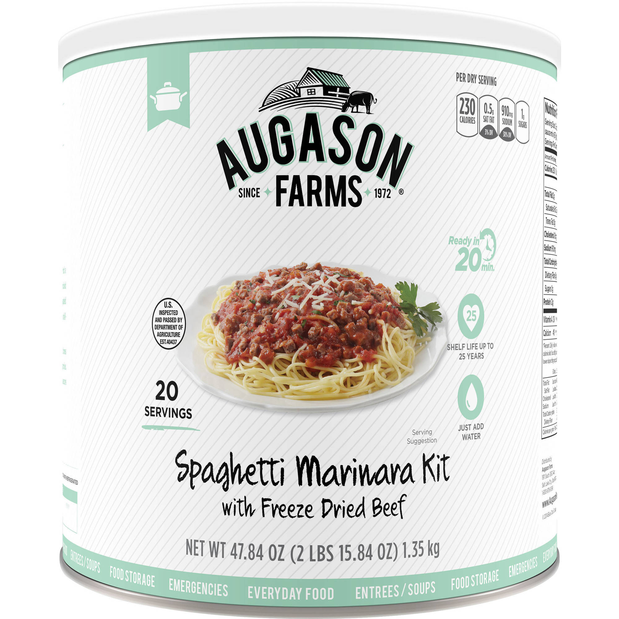 Augason Farms Ready Cuisine Spaghetti Marinara with Freeze Dried Beef Kit, 47.84 oz by Generic