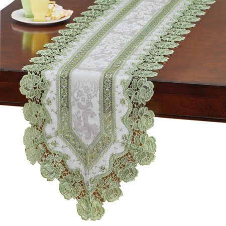 Lovely Embroidered Floral Lace Table Topper - Features Floral Organza and Intricate Rose Lace Details - Machine Washable - Polyester