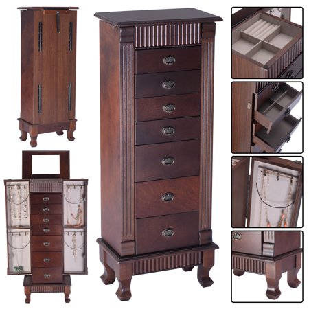 Costway Jewelry Cabinet Armoire Box Storage Chest Stand