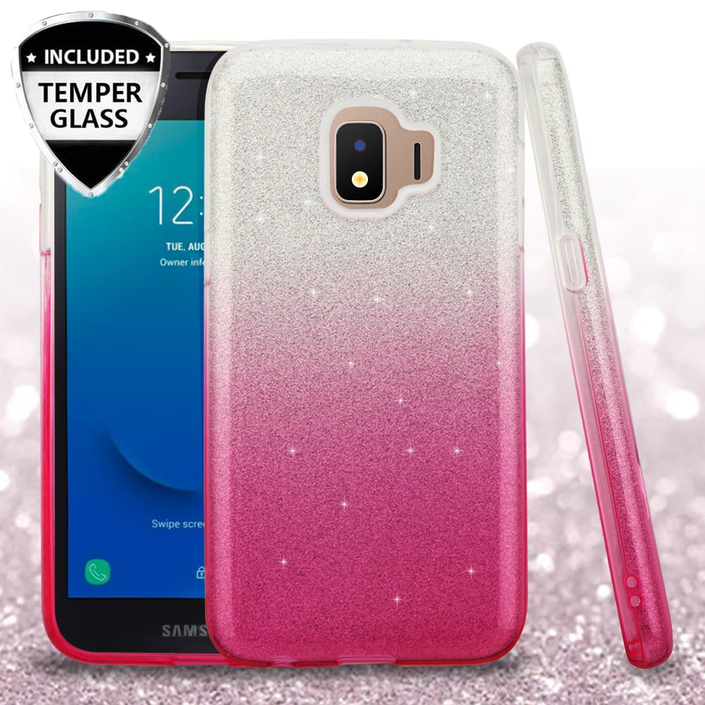 Soga Cute Girl Women Cover Compatible For Samsung Galaxy J2 Core Case With Tempered Glass Screen Protector Shinny Glittery Tpu Bumper Hybrid Protector Gradient Pink Walmart Com Walmart Com