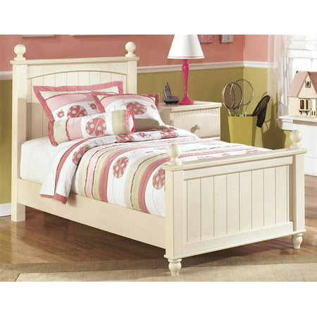 (Kids Twin Poster Bed in Cottage Cream Finish)