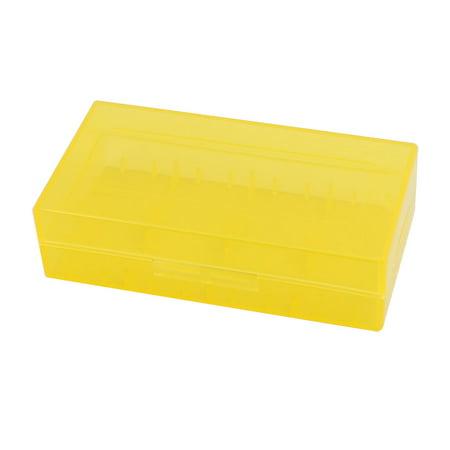 Plastic Hard Case Holder (78mmx42mmx21mm hard plastic battery storage case holder organizer yellow)