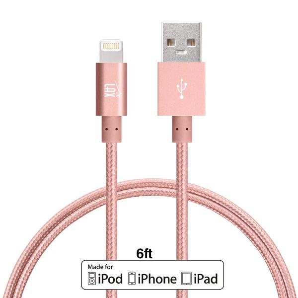 LAX Gadgets Extra Long, 2 in 1 Apple MFi Certified Nylon Lightning to USB iPhone Charger Cable for iPhone 5, 5s, 6, 6s, 6s Plus / iPad Air, Mini / iPod | 6 Ft Cord, Rose Gold