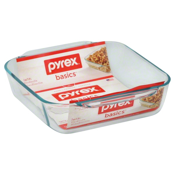 "Pyrex Basics 8"" Square Baking Pan, Glass"