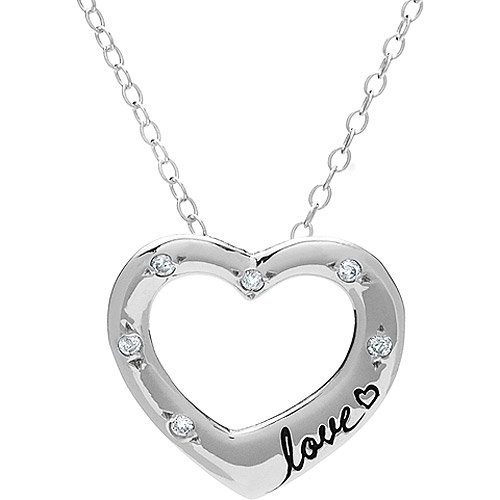 "Adina Reyter Sterling Silver and Diamond ""Love"" Open Heart Pendant"