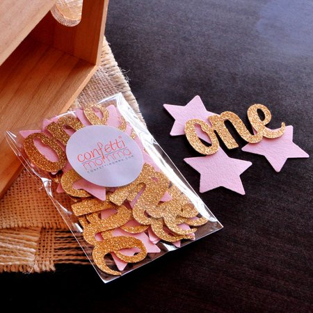 Pink and Gold Party Decorations. Handcrafted in 1-3 Business Days. Twinkle Twinkle Little Star. Star Confetti with